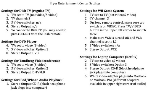Settings for entertainment center