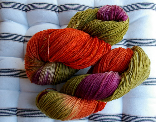 2 x Leaf Litter skeins of superwash sock yarn