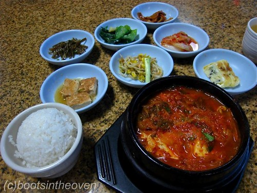 Kimchi Jjigae with Banchan from Korean Grill