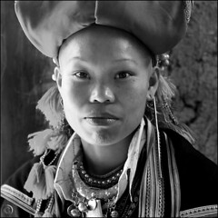 Red Dao Woman in B&W (NaPix -- (Time out)) Tags: china portrait bw woman 6x6 silver square asia jewelry vietnam soul ethnic minority emotions tellmeastory z napix yo