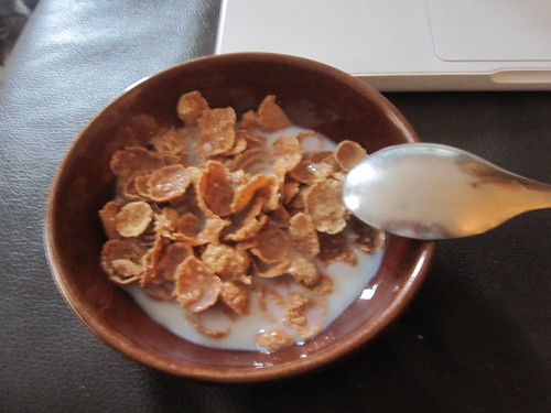 Nature's path cereal with skim milk at home