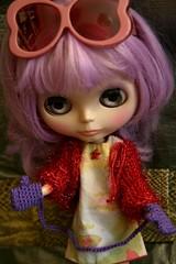 Purple winter mittens