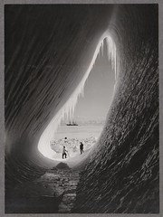 Grotto in an iceberg, photographed during the British Antarctic Expedition of 1911-1913, 5 Jan 1911 (National Library NZ on The Commons) Tags: blackandwhite bw cold ice expedition vintage frozen ship flat unique awesome great antarctica explore journey cave iceberg herbert exploration grotte solid hhle 1911 unforgetable terranova ponting isicles capeevans robertfscott herbertponting nationallibrarynz icebergcave
