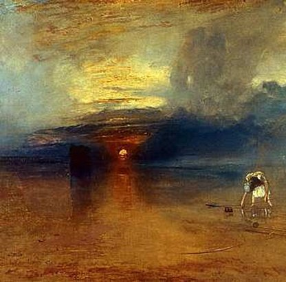Joseph Mallord William Turner, Calais Sands, Low Water, Poissards Collecting Bait (détail), 1830, oil on canvas, 73 x 107 cm, Bury Art Gallery, Museum & Archives © Bury Art Gallery, Museum & Archives, Lancashire