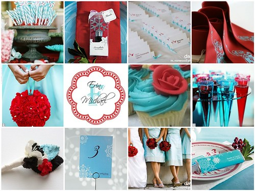 For a colorful winter wedding theme combine Tiffany blue with red the