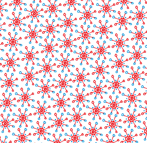 blue and red flakes
