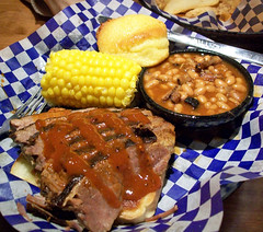 Brisket (again) (mooshee85) Tags: food dinner lunch restaurant washington yummy beans corn state sauce beef famous bbq delicious daves meal wa cornbread muffin cob baked wilbur brisket silverdale