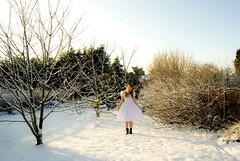 Snow! (evilibby) Tags: trees shadow sky sun sunlight white snow girl garden outside shadows boots bare pale human libby 365 baretrees whitedress blackboots 365days 3652