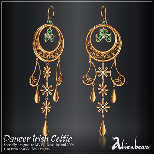 Dancer Irish gold earrings (Miss Ireland)