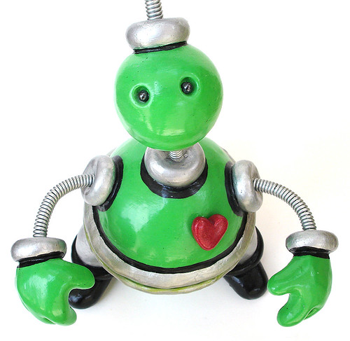 Green Gusteau Robot Sculpture Keepsake Storage Vessel Angled