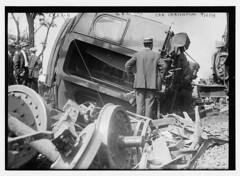Wreck of car Chrisholm  (LOC) (The Library of Congress) Tags: train accident rail libraryofcongress derailed trainwreck derailment xmlns:dc=httppurlorgdcelements11 dc:identifier=httphdllocgovlocpnpggbain14280 barharborexpress