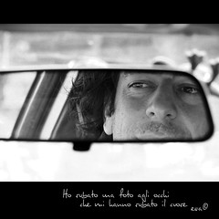 Ho rubato una foto agli occhi che mi hanno rubato il cuore (in eva vae) Tags: portrait people blackandwhite bw man look car mirror eyes eva sweet retrato husband personas hidden crop monocrome stoled inevavae
