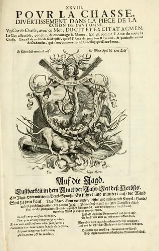 029- Una de las divisas del tapiz del otoño representando la caza-Tapisseries du roy, ou sont representez les quatre elemens 1690- Sebastien Le Clerc