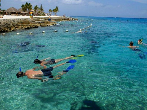 Father and son snorkel Chankanaab Cozumel