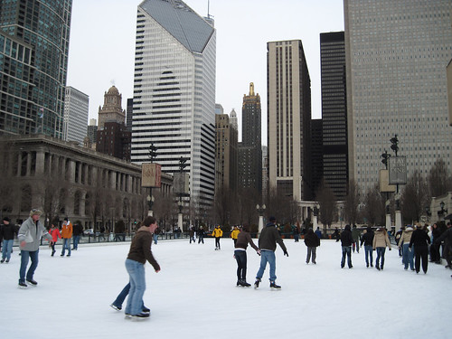 Ice Skaters in Millennium Park