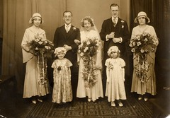 My parents' wedding (wonky knee) Tags: wedding 1931 1930s bridesmaids bouquets myparents