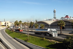 TRUCKING IN BARCELONA (Claude  BARUTEL) Tags: barcelona sea ferry port truck volvo boat spain highway ship tank harbour transport petrol catalan trucking containers scania mediterranea