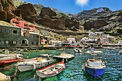 Ammoudi Bay 1 (Patricia Fenn) Tags: sky sun mountains church canon boats island greek photography lava bay harbor photographer bright harbour vibrant chapel cliffs santorini greece caldera taverna rim quaint cyclades pumice ammoudibay patriciafenn gettyimagesgreece1 patriciafenngallerycom
