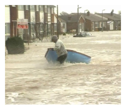Archive image - Towyn floods 1990, a still image taken from BBC film footage