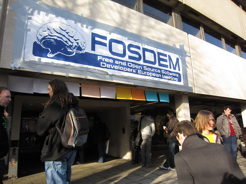 FOSDEM sign, hooked with duct tape!