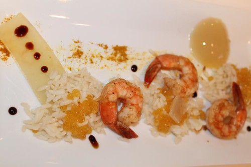 Molecular gastronomy shrimp curry