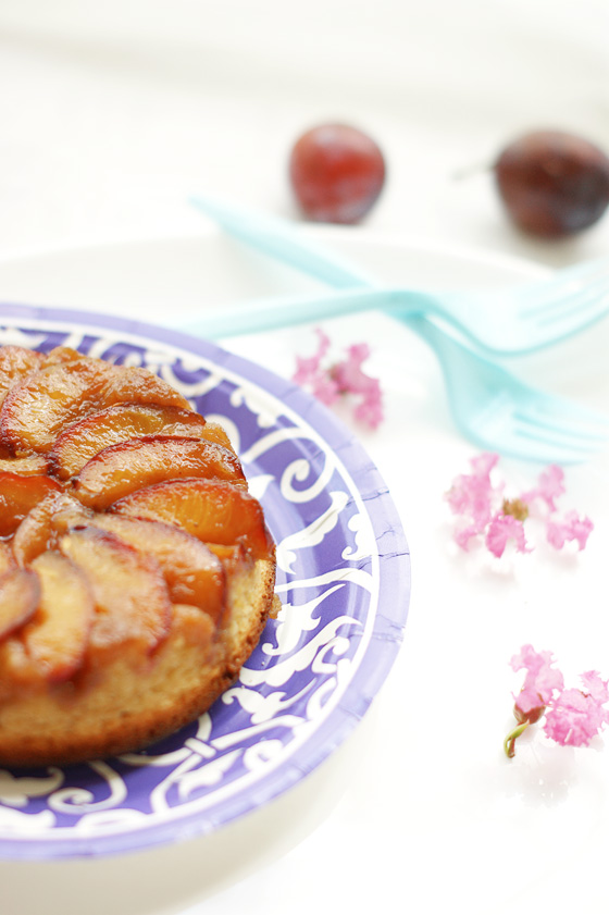 Upside down plum and Brazilian nut cake
