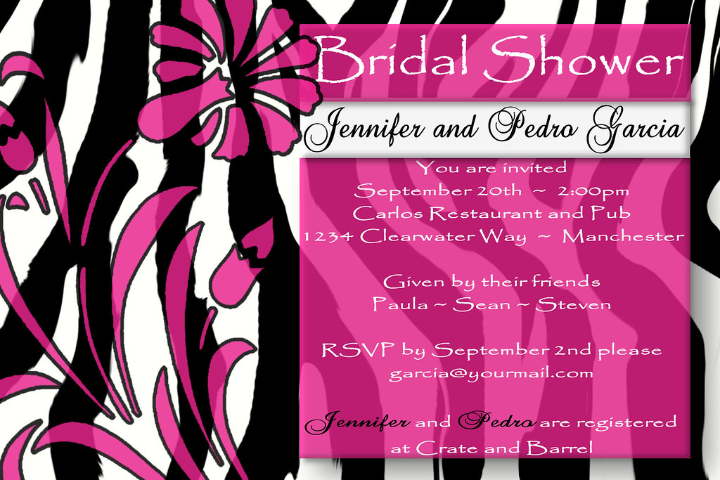 D#7, fuschia, stencil,  ZEBRA, custom, personalized, elegant, bridal, baby, shower, birthday, invitation, wedding,modern, design, unique, different, zebra, animal, print, animal print, flower, floral