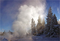 Magic of Yellowstone (Sandra OTR) Tags: park winter snow cold nature landscape peaceful steam national yellowstone wyoming geyser