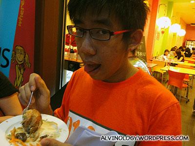 Boy Thunder enjoying his food