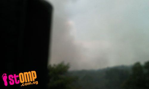 Haze from Tampines-Buangkok forest fire seen near Serangoon Secondary