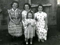 Image titled Mary and Her Sister Frances Denholm, Ages 9 and 11, Elizabeth McGinn,11 and Miss Forester Age 4 1958