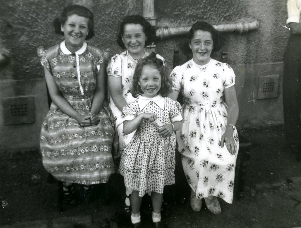 Mary and Her Sister Frances Denholm, Ages 9 and 11, Elizabeth McGinn,11 and Miss Forester Age 4 1958