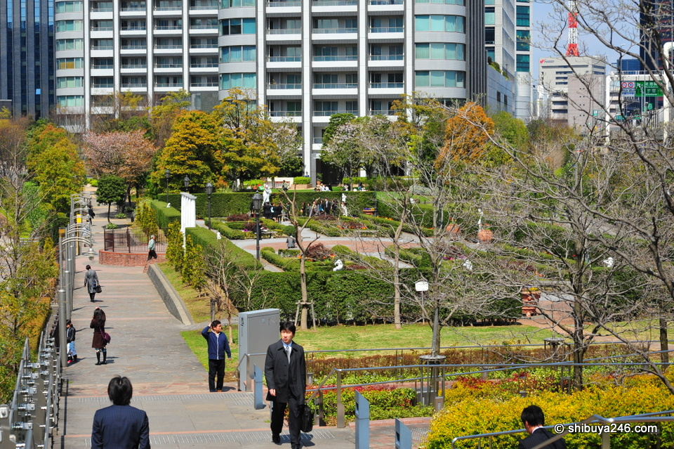 There is a nice sunken garden in between the Shiodome Building and the apartment towers along the walk towards Shinbashi.