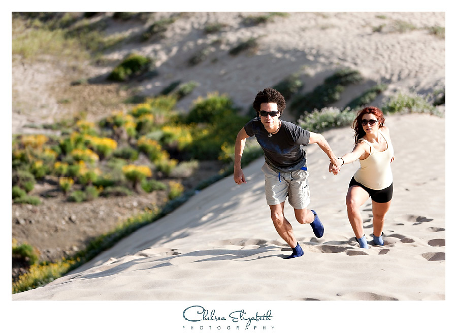 couple hiking up the hill malibu photography