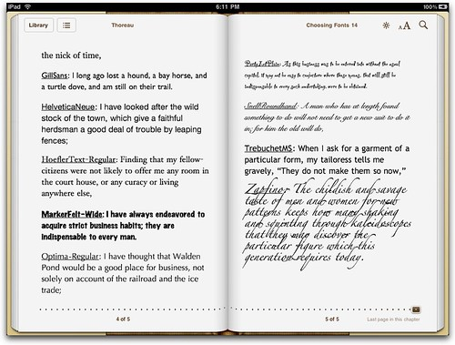 More fonts for iPad eBooks 3