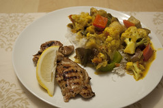 Yogourt Tamarind Chicken with Curry Vegetables