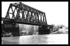 Old Union Pacific Trestle..in b&w (penant_Laura) Tags: road bridge trees water trash rail covered blackandwhitelove usarailroadtracks wichitaphotographers