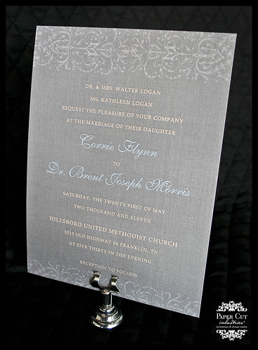 Victorian Lace Wedding Invitation in Peach, Gray and Blue