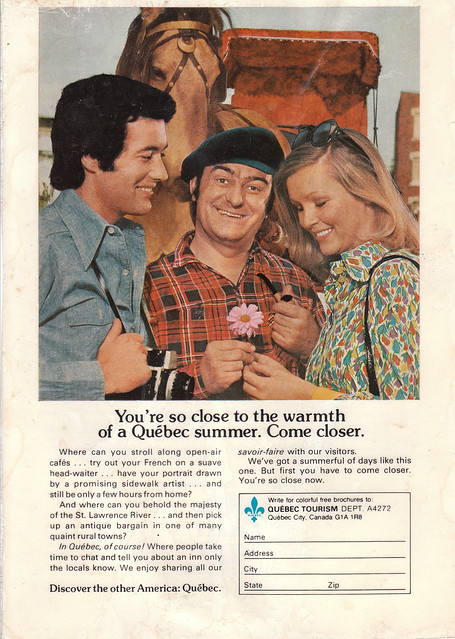 So close to the warmth of a Quebec summer (1970s national geographic ad)