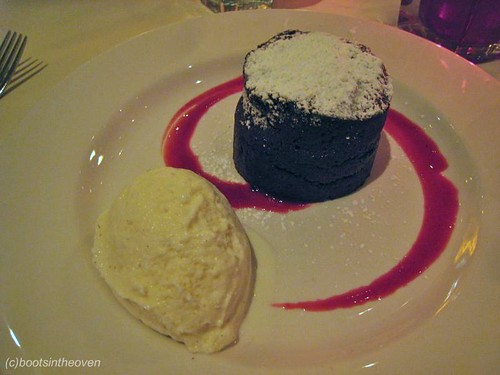 Roy's Melting Hot Chocolate Souffle: flourless chocolate cake with a molten hot center served a la mode