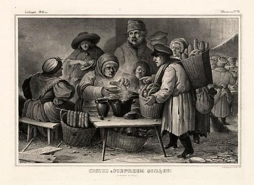 008-Salchichas de pimienta calientes- Varsovia 1841-Album de dibujos de Varsovia- Piwarski