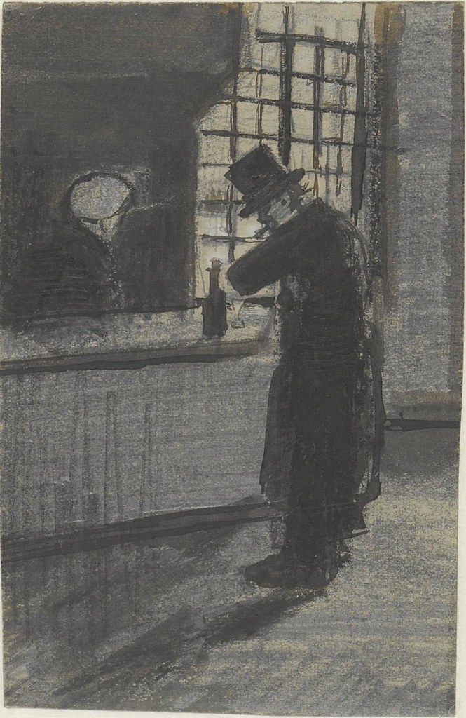 swift black ink sketch of man at bar in 19th century