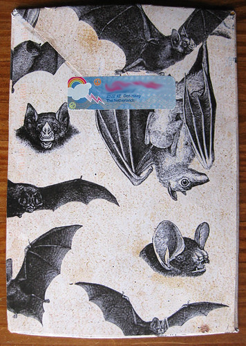 Autumn bats mail art envelope, back
