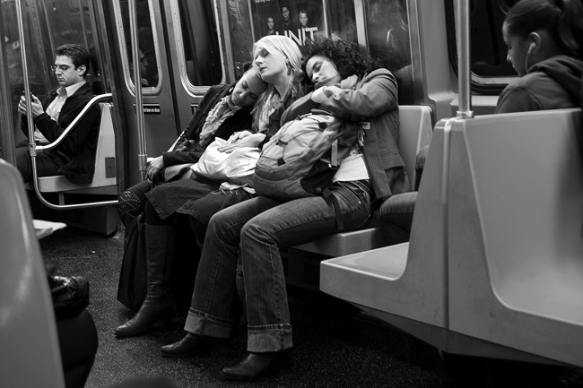 Three Asleep on the Subway