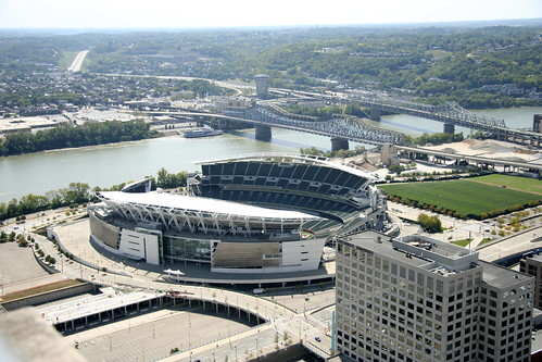 Aerial of Downtown Cincinnati - Bengals Stadium