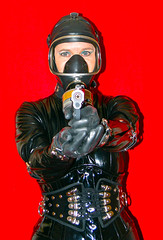 HANDS UP !! (horpach) Tags: fetish mask boots sm bondage bdsm mature corset gasmask collar lack maske laque fetisch stiefel korsett gasmaske