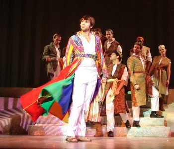 Matthew Morley Rusk as the title character in the Devon Theaters production of Joseph and the Amazing Technicolor Dreamcoat, running Nov. 12 to Dec. 13, 2009. Photo credit Kim Reilly, Devon Theater.