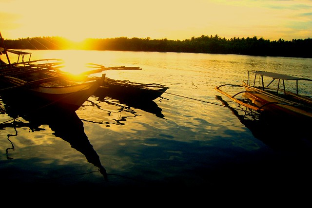 Boats at Sunset in Pagsanghan, Samar