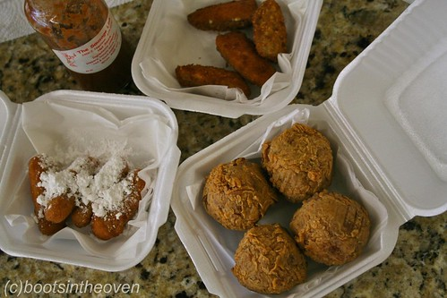 OMSNAX! Fried jalapenos, boudin balls, yam sticks. Hot sauce.