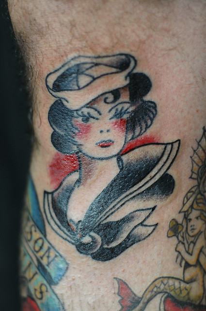 Sailor Girl Traditional Tattoo by KeelHauled Mike Black Anchor Tattoo Denton
